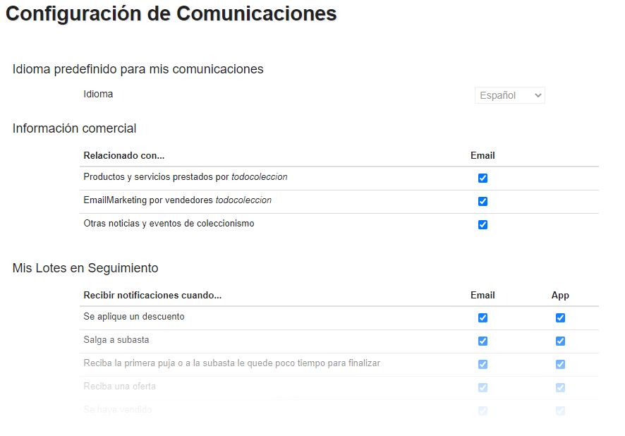 Configuración de comunicaciones