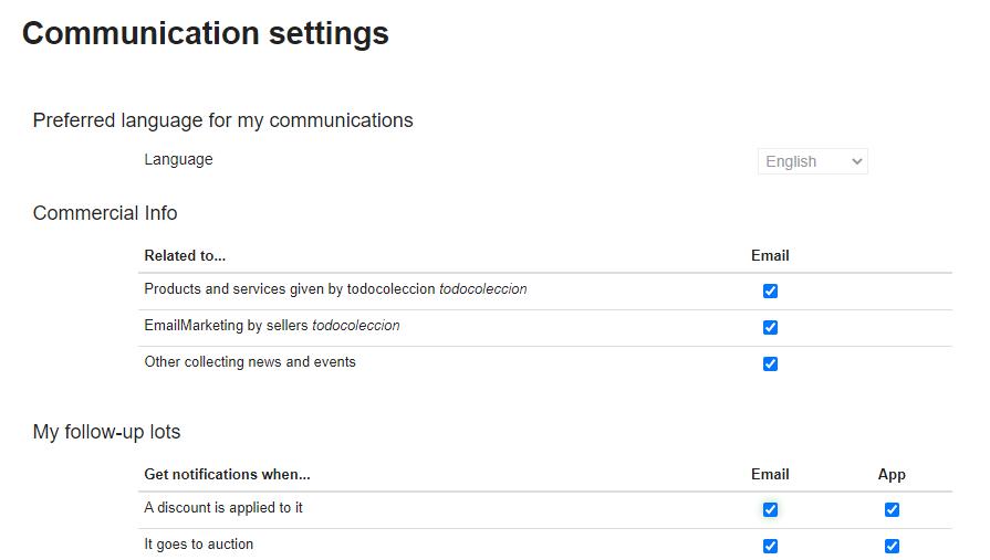 Communication settings