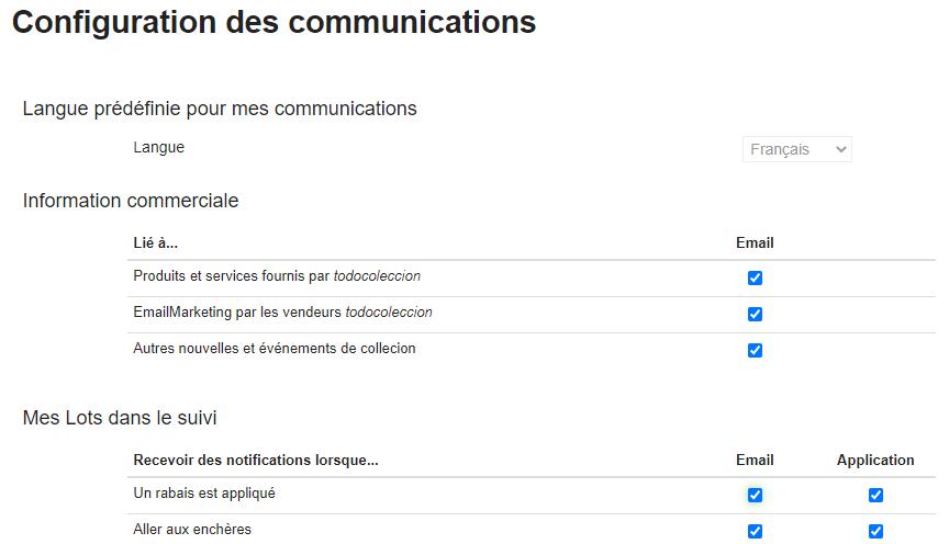 Configuration des communications