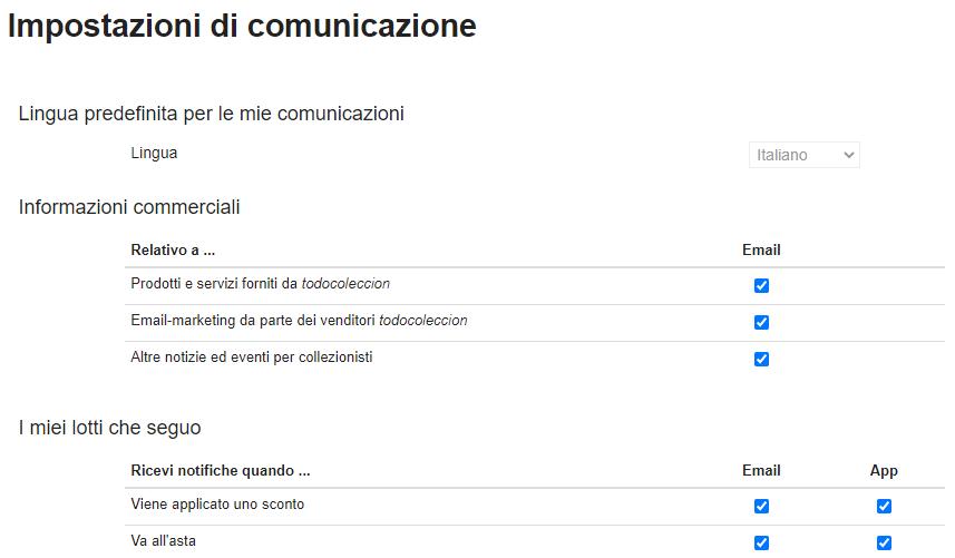 Impostazioni di comunicazione