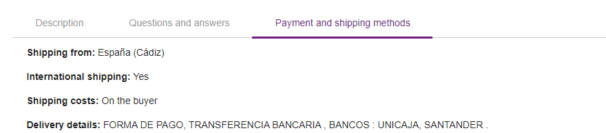 Payment and shipping methods