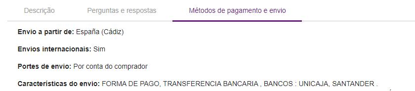 Métodos de pagamento e envio