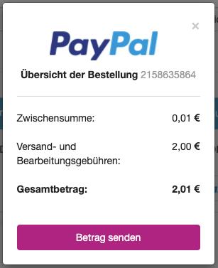 Übersicht PayPal